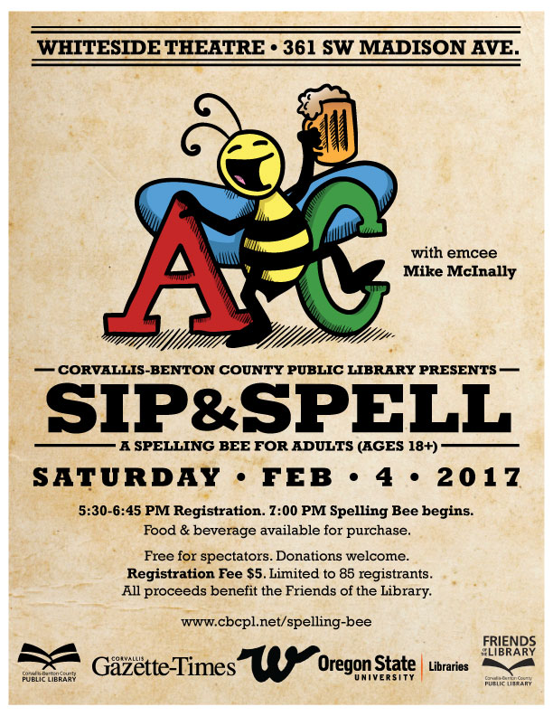 Sip and Spell event at Whiteside Theater